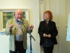 Artist Jerry Cahir with Noelle Campbell Sharp of the Origin Gallery at the exhibition opening