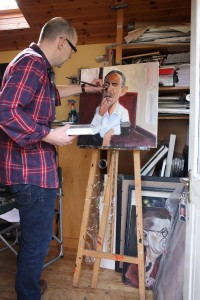 Niall with portrait of US President Barack Obama