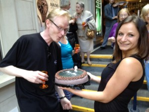 Gallery Owner, Frank O'Dea and Gallery Manager, Lucie Pacovska with the birthday cake!