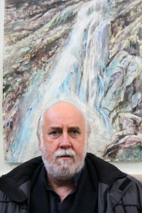 "John Keating with his ""Wicklow Waterfall"""