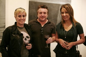 Lorraine Robinson, Darren Robinson (aka Dr Dublin) and sculptor Orla deBrí at the exhibition opening