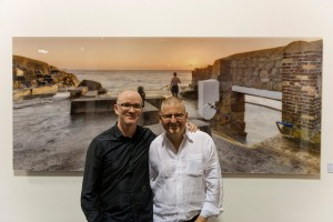 Enda Cavanagh with  Les Wolnik owner of the Copper House gallery. at the exhibition opening