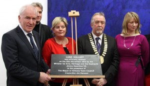Minister for the Arts, Heritage and the Gaeltacht Jimmy Deenihan TD , Architect Keith Williams, Nicky McFadden TD, Mayor of Athlone Jim Henson and Miriam Mulrennan Manager Athlone Art & Heritage which runs the gallery.