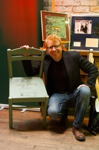 Tommy Fleming poses with his autographed chair.