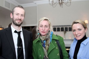 Artist Alan Clarke, Linda Moran and Maria Corbett at the exhibition opening