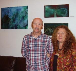 John Rush and Barbara O'Meara at the exhibition opening