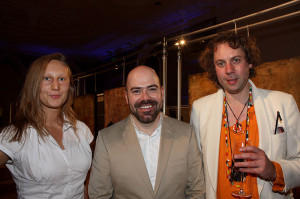 Artist Jordi Forniés (centre) with Magda and Derek at the exhibition opening