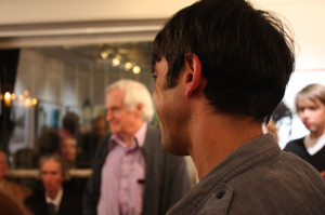 Artist Joby Hickey listening to John Boorman's opening speech (photo Liam Madden)
