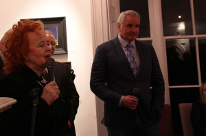 Noelle Campbell Sharp and Brent Pope at the exhibition opening