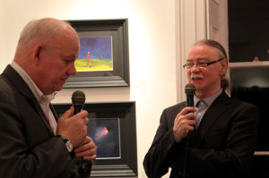 Brian Maguire and Eddie Cahill in conversation at the exhibition opening