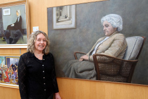 Artist Ursula Klinger with her version of Whistler's Mother - her mother (photo Liam Madden)
