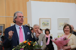 Ian Whyte introducing the exhibition (photo Liam Madden)