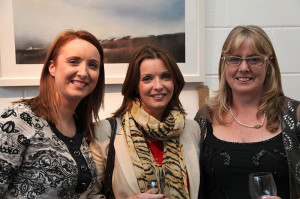 Artist Anne Marie McInerney (right) with friends at the exhibition opening (photo Liam Madden)