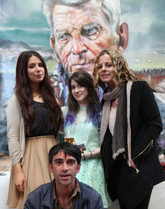 Claire-Michelle O'Connor, Aisling Kennedy, Clare Shanahan and artist Joby Hickey at the exhibition opening with Samuel Beckett in the background (photo Liam Madden)