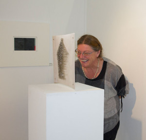 Karin Kempf with Frances Leach's work entitled 'House'