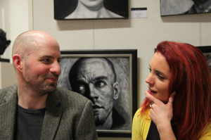 Artist Vincent Keeling with Camille Lynch from the Sol Art Gallery at the exhibition opening (photo Liam Madden)