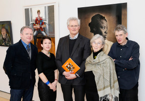 Colin Davidson PRUA (artist), Anne Hodge (Curator of Prints and Drawings, NGI), Sean Rainbird (Director of the National Gallery of Ireland, Catherine Marshall (scholar and curator, front) and Aidan Dunne (art critic, The Irish Times) – the judging panel for the Hennessy Portrait Prize 2015. (photo Kieran Harnett)