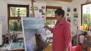 Artist Jo Ashby in her studio