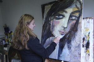 Artist Ludmila Korol at work (photo Liam Madden)
