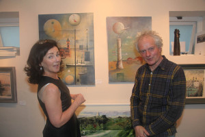 Gallery owner Siobhan with Peter Pearson at the gallery opening (Photo Liam Madden)