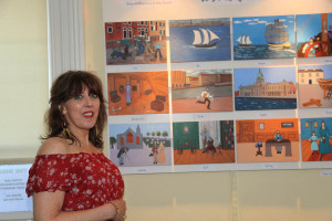 Artist Gaby Browett at the exhibition opening (Photo Liam Madden)