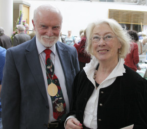 Aidan Hickey, the new president of the Dublin Painting & Sketching Club with exhibiting artist Brid Clarke at the opening (Photo Pat Clarke)
