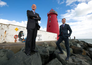 Eamonn O Reilly, Dublin Port Company & Andrew Hetherington, Business to Arts at Poolbeg Lighthouse launching Port Perspectives. (Photo Shane O'Neill)