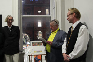 Exhibition Curator Tony Strickland, artist Graham Knuttel and artist Frank O'Dea at the opening (photo Liam Madden)