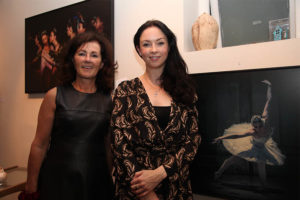 Siobhan Bastable of The Gallery with Monica Loughmann of Elite Ballet Company at the exhibition opening (photo Liam Madden)