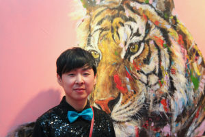Artist Jin Yong at Art Source (photo Liam Madden)