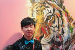 Artist Jin Yong at Art Source (photo Liam Madden)