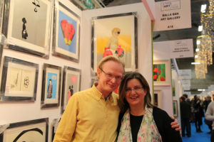 Frank O'Dea from Balla Ban Gallery with his wife Helen  at Art Source (photo Liam Madden)