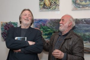 Barry Devlin (left) who opened the exhibition with artist John Keating at the exhibition launch (photo Keith Dixon)