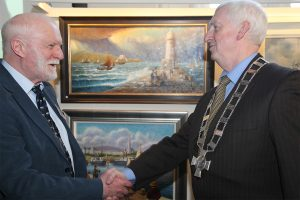 Aidan Hickey, President of the Dublin Painting and Sketching Club with Richard McCormick, President of the National Maritime Museum of Ireland at the exhibition launch (photo Liam Madden)