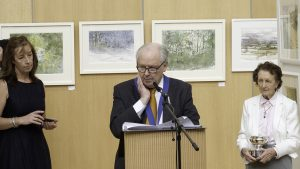 Liam O'Herlihy President of The Water Colour Society of Ireland opening the exhibition (photo Liam Madden)