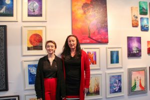 Patricia Keely Murphy with her daughter at the exhibition launch (photo Liam Madden)