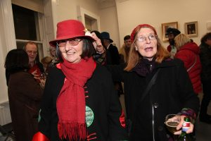 Veronica Heywood with her friend Joan at the exhibition (photo Liam Madden)