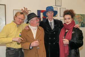 Frank O'Dea, Andrew Manson, Tony Strickland and Sarah Eva Manson at the exhibition (photo Liam Madden)