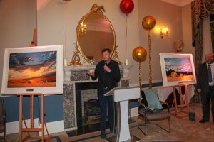 Brendan O'Connor opening the exhibition with Fergus O'Mahony of the Warren Gallery (photo Liam Madden)