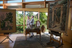 Artist Gerard Byrne (left) with Director of the National Botanic Gardens, Dr Matthew Jebb.