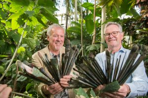 Artist Gerard Byrne (left) with Director of the National Botanic Gardens, Dr Matthew Jebb.