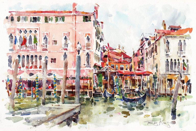'On the Grand Canal', a watercolour by Tomas King