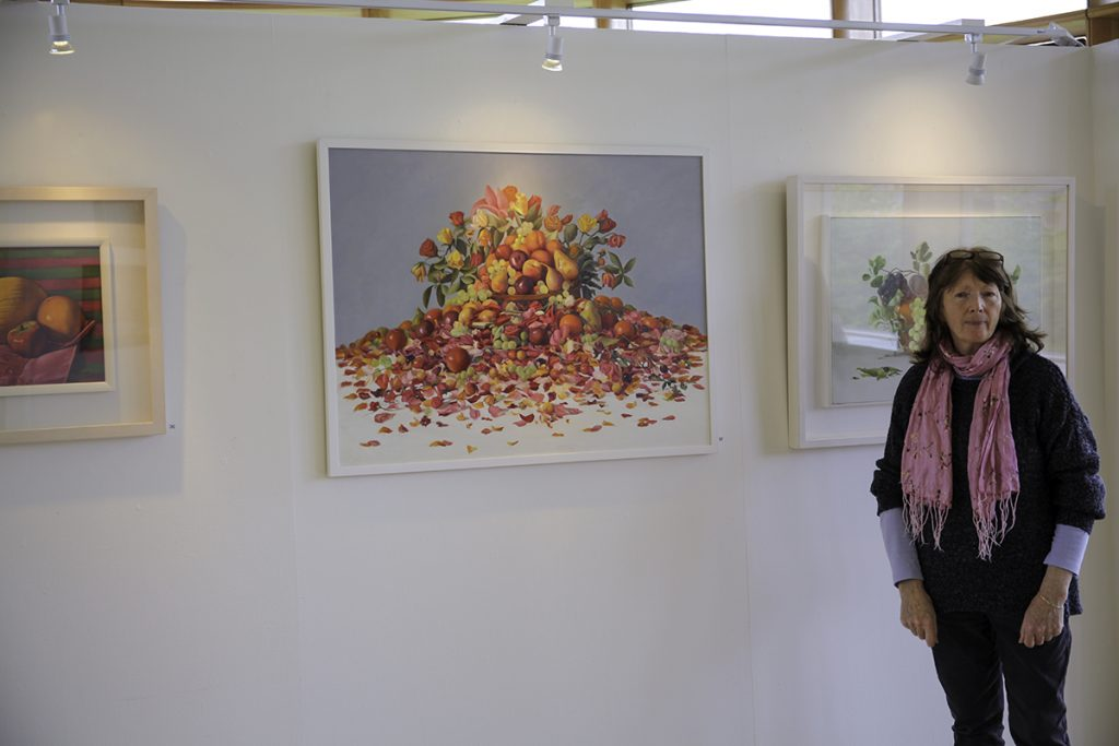 Artist Therese McAllister with some of her works (photo Liam Madden)